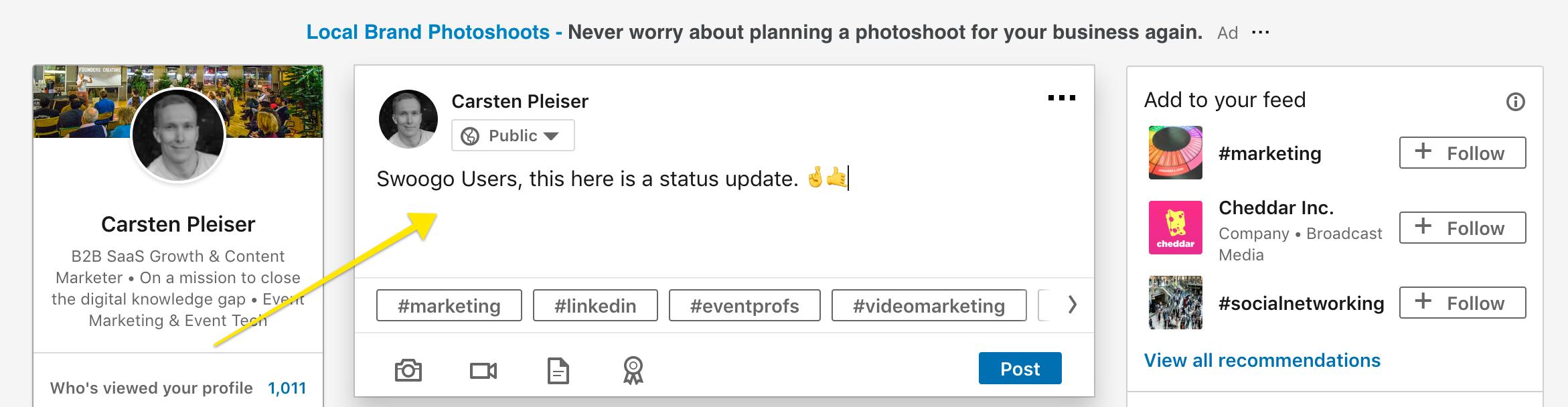 Content Writing on LinkedIn - Status Updates