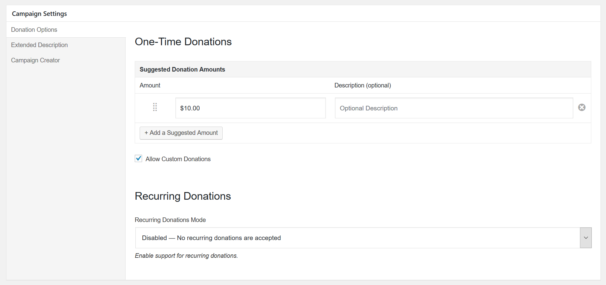 "Campaign Settings form with ""Recurring Options"" tab highlighted and showing Recurring Donations Mode, Donation Requency, Suggested Recurring Donation Amounts, and Default tab options."