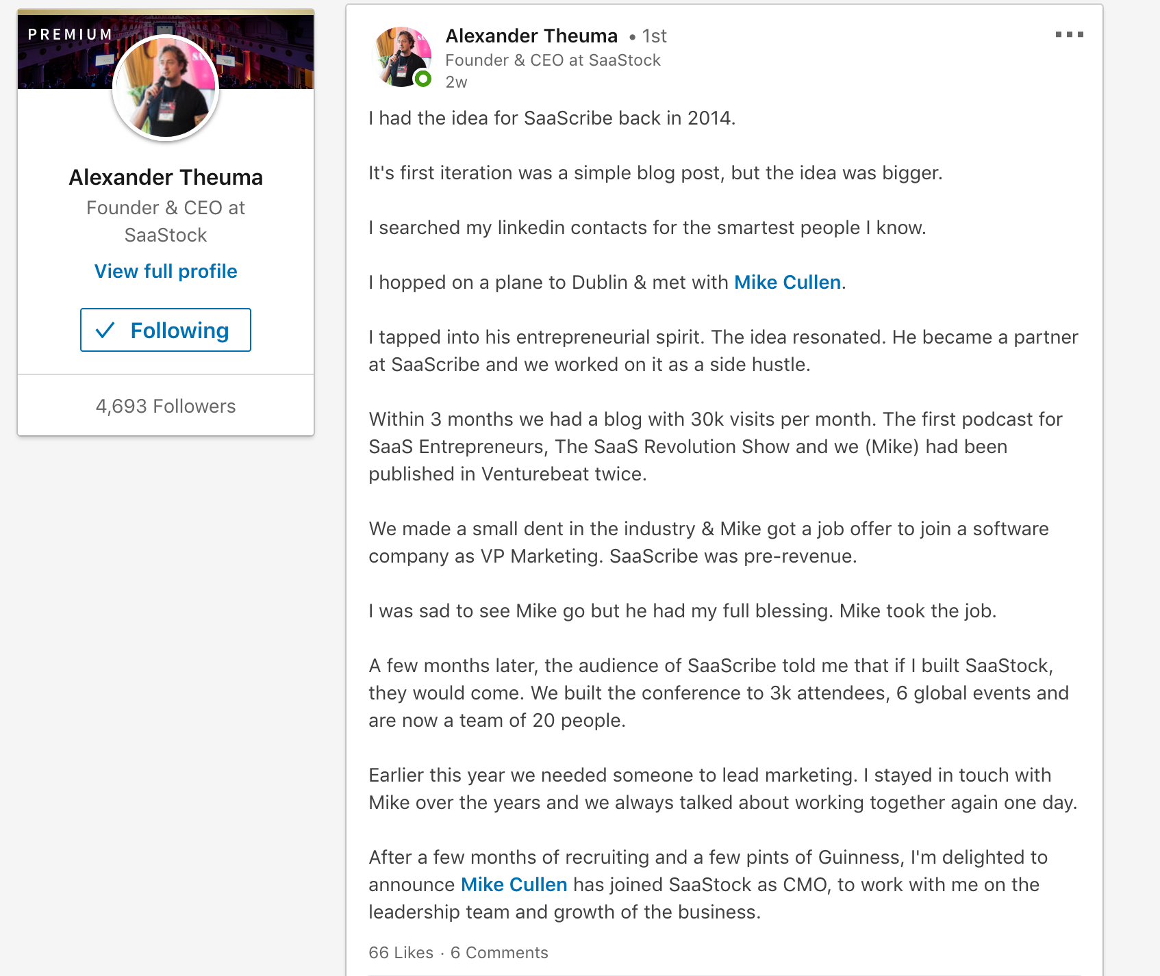 Content Writing on LinkedIn - Alexander Theuma - SaaStock